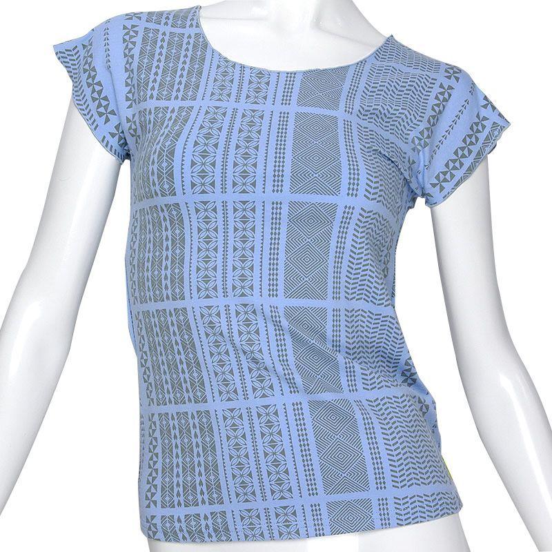 高品質生地(コットンライクラ)使用の総柄フレンチスリーブTシャツ