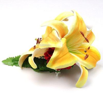 画像1: カサブランカ ウレタン ヘアクリップ 黄色 フラダンス 舞台衣装 髪飾り