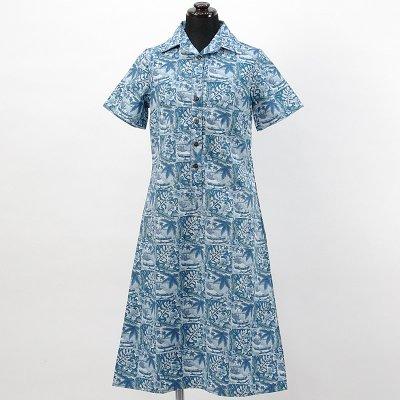 画像1: reyn spooner社製シャツドレス【ロング】【ANINI BEACH/BLUE】Sale