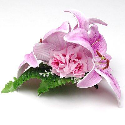 画像1: カサブランカ ウレタン ヘアクリップ 紫 フラダンス 舞台衣装 髪飾り