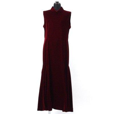画像1: ベルベットドレス【ワインレッド】Sale