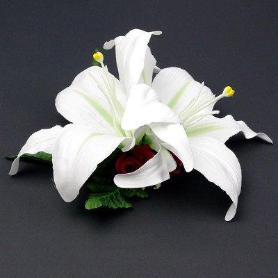 画像1: カサブランカ ヘアクリップ 白 シルクフラワー素材