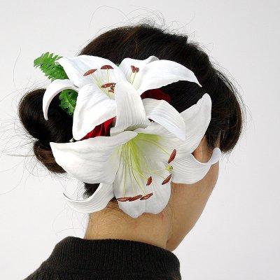 画像3: カサブランカ ウレタン ヘアクリップ 白 フラダンス 舞台衣装 髪飾り