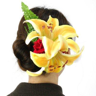 画像3: カサブランカ ウレタン ヘアクリップ 黄色 フラダンス 舞台衣装 髪飾り