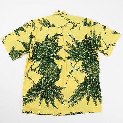 画像1: Nakeu Awai製生地使用メンズ・アロハシャツ【ウル柄/黄色×緑】