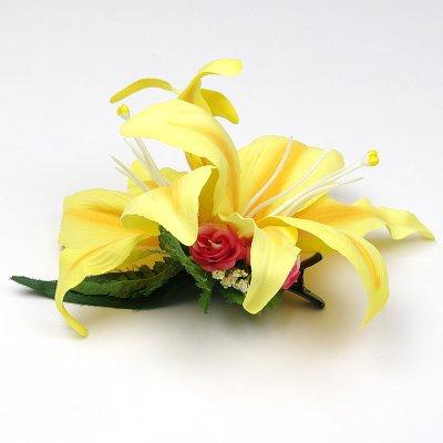 画像1: カサブランカ ヘアクリップ 黄色 シルクフラワー素材