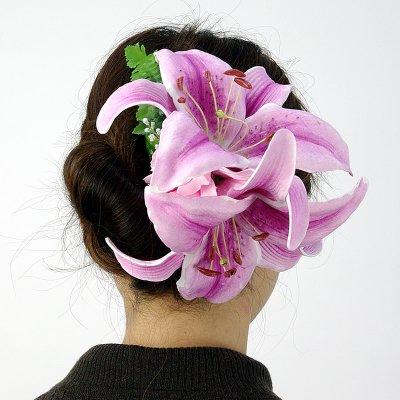 画像3: カサブランカ ウレタン ヘアクリップ 紫 フラダンス 舞台衣装 髪飾り