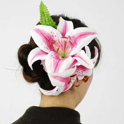 画像3: カサブランカ ウレタン ヘアクリップ ピンク フラダンス 舞台衣装 髪飾り