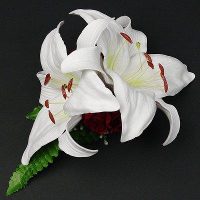 画像2: カサブランカ ウレタン ヘアクリップ 白 フラダンス 舞台衣装 髪飾り