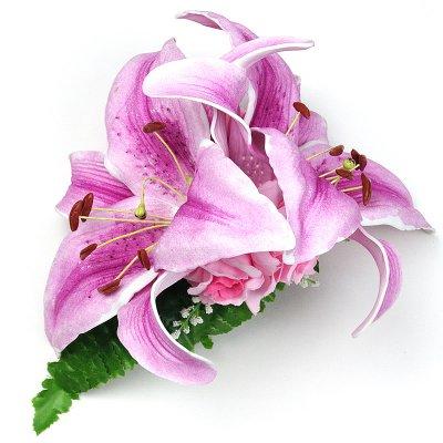 画像2: カサブランカ ウレタン ヘアクリップ 紫 フラダンス 舞台衣装 髪飾り