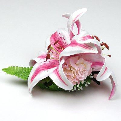画像1: カサブランカ ウレタン ヘアクリップ ピンク フラダンス 舞台衣装 髪飾り