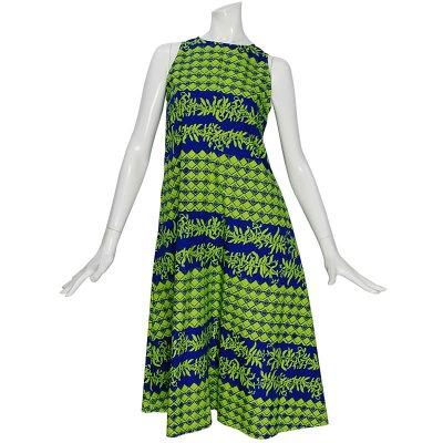 画像1: Nakeu Awaiノースリーブ Aラインドレス≪モキハナ&マイレ&タパ/ロイヤルブルー×グリーン≫