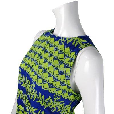 画像3: Nakeu Awaiノースリーブ Aラインドレス≪モキハナ&マイレ&タパ/ロイヤルブルー×グリーン≫