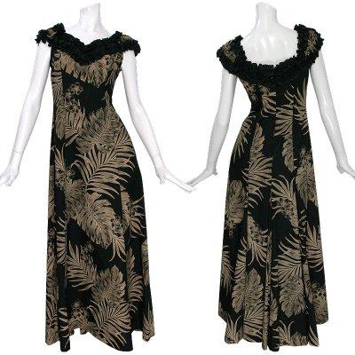 画像1: プリンセス カイウラニ ファッション フリルスリーブドレス≪モンステラ/黒≫