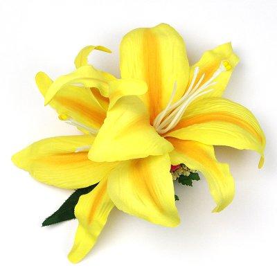 画像2: カサブランカ ヘアクリップ 黄色 シルクフラワー素材