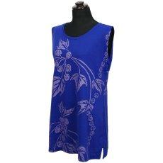 画像1: East Honolulu Clothing Campany製ノースリーブチュニック ククイ柄 青紫×ラベンダー (1)