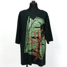 画像2: East Honolulu Clothing Campany製7分袖トップス ラウアエ&バナナリーフ柄 黒地 (2)
