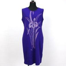 画像2: East Honolulu Clothing Campany製ラウンドネックドレス アイリス柄 紫×ラベンダー (2)