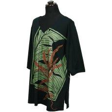 画像1: East Honolulu Clothing Campany製7分袖トップス ラウアエ&バナナリーフ柄 黒地 (1)