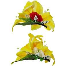 画像4: カサブランカ ヘアクリップ 黄色 シルクフラワー素材 (4)