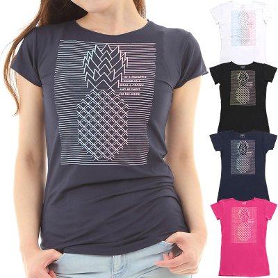 画像1: 売り切りSALE フレンチスリーブ Tシャツ パイナップルライン柄 ネコポス対応可
