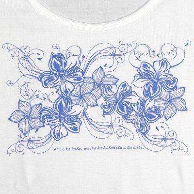 画像3: 6.2oz速乾フライスTシャツ【ハイビスカス&プルメリア/白×青】≪ネコポス対応可≫