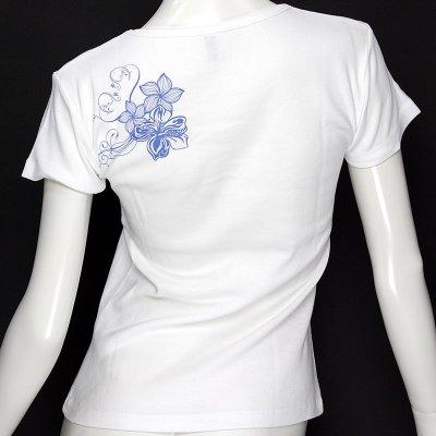 画像1: 6.2oz速乾フライスTシャツ【ハイビスカス&プルメリア/白×青】≪ネコポス対応可≫