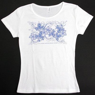 画像2: 6.2oz速乾フライスTシャツ【ハイビスカス&プルメリア/白×青】≪ネコポス対応可≫