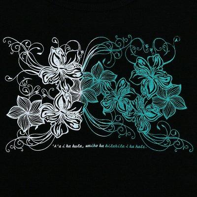 画像3: 半袖フライスTシャツ【ハイビスカス&プルメリア/黒×グラデーション(白〜エメラルド・グリーン)】≪ネコポス対応可≫