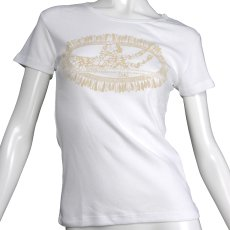 画像1: フライスTシャツ≪ホワイトジンジャーレイ/白×ベージュ≫≪ネコポス対応可≫ (1)