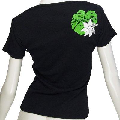 画像2: 6.2oz速乾フライスTシャツ≪タヒチアンモンステラ/黒×緑&白≫≪ネコポス対応可≫