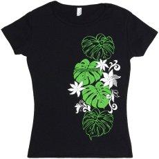 画像3: 6.2oz速乾フライスTシャツ≪タヒチアンモンステラ/黒×緑&白≫≪ネコポス対応可≫ (3)