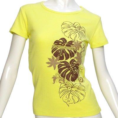 画像1: フライスTシャツ≪タヒチアンモンステラ柄 黄色ボディ ココア&ベージュプリント≫≪ネコポス対応可≫