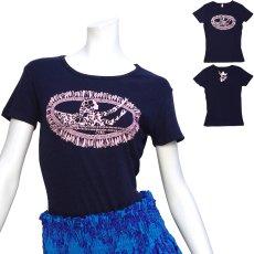画像1: フライスTシャツ≪ホワイトジンジャーレイ ネイビー×ピンク≫≪ネコポス対応可≫ (1)