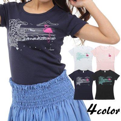 画像1: フラダンス Tシャツ 速乾加工 フライス 半袖 Tシャツ≪Hulamingo≫≪ネコポス対応可≫