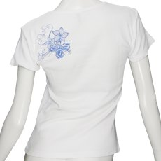 画像2: 6.2oz速乾フライスTシャツ【ハイビスカス&プルメリア/白×青】≪ネコポス対応可≫ (2)