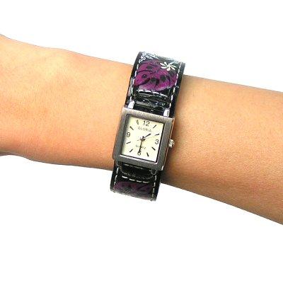 画像2: ハワイアン・ハンドペイント腕時計【ティアレ&モンステラ/アイボリー】