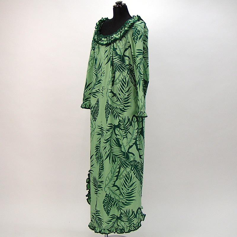 画像1: プリンセス・カイウラニ・ファッション・ムームー【ロングスリーブ/緑】Sale (1)