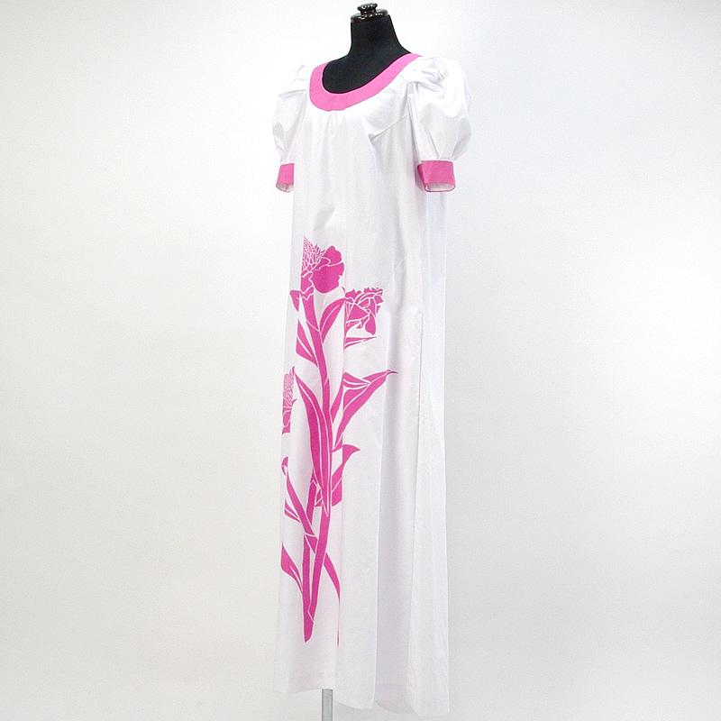 画像1: プリンセス・カイウラニ・ファッション・ムームー【トーチジンジャー/白×ピンク】Sale (1)