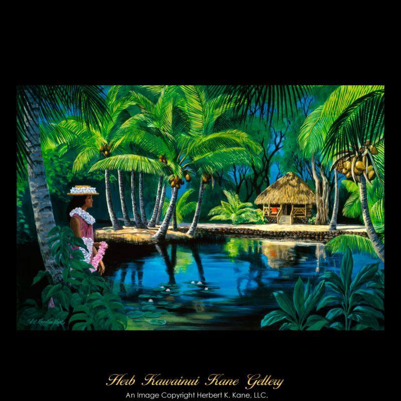 画像1: ジクレー版画 Tahitian Hut and Lei Girl (タヒチアン・ハット & レイ・ガール) by Herb Kane (1)