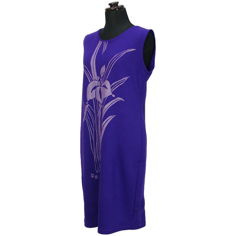 画像1: East Honolulu Clothing Campany製ラウンドネックドレス アイリス柄 紫×ラベンダー (1)
