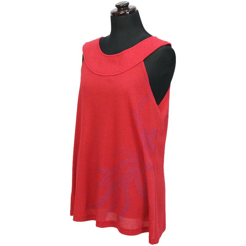 画像1: East Honolulu Clothing Campany製ラウンドネックトップス ラウアエ柄 赤×紫 (1)