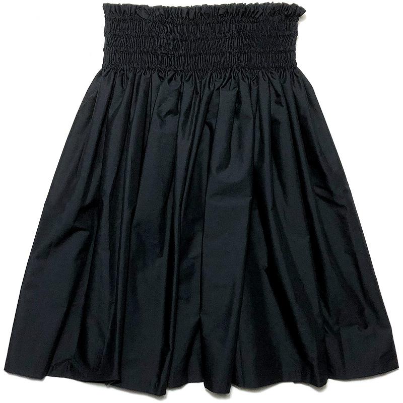 画像1: フラ レッスン スカート 無地パウ ソリッドカラー シングル パウ 4ヤード 4本ゴム 丈72cm ブラック 黒 (1)