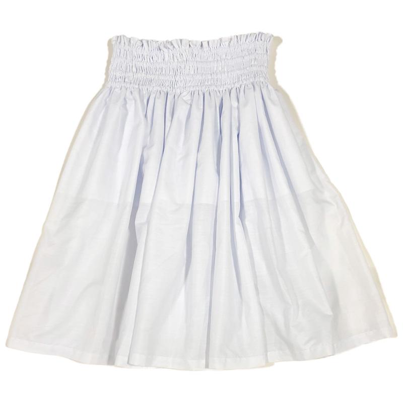 画像1: フラ レッスン スカート 無地パウ ソリッドカラー シングル パウ 4ヤード 4本ゴム 丈72cm 白 (1)