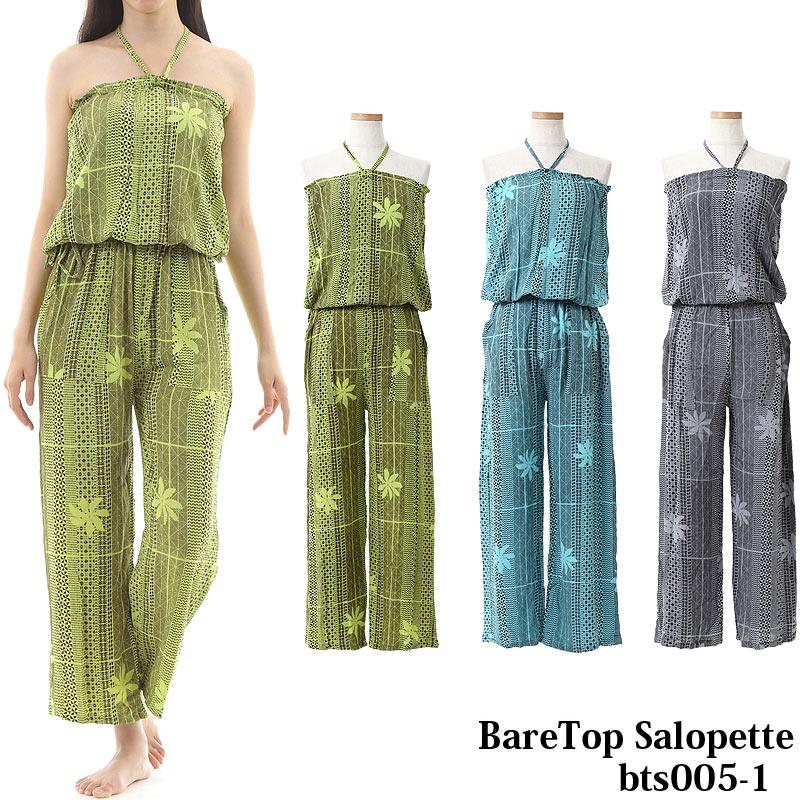 画像1: リゾート ドレス ベアトップ サロペット カパラティアレ柄 (1)
