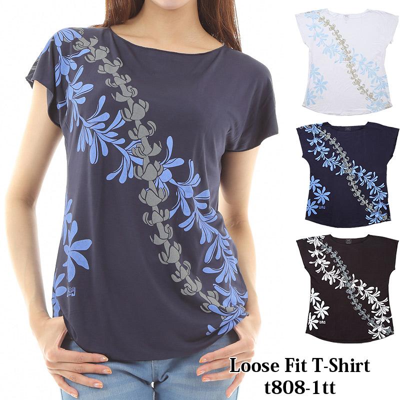 画像1: ルースフィット Tシャツ ティアレタヒチ柄 ネコポス対応可 (1)