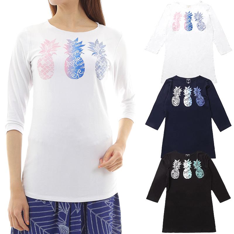 画像1: 売り切りSALE フラダンス 7分袖 Tシャツ スリムフィット パイナップル柄 ネコポス対応可 (1)
