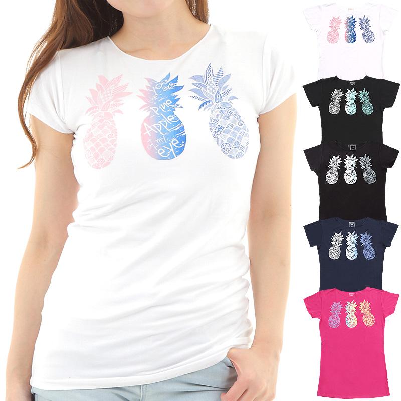 画像1: 売り切りSALE フレンチスリーブ Tシャツ パイナップル柄 ネコポス対応可 (1)