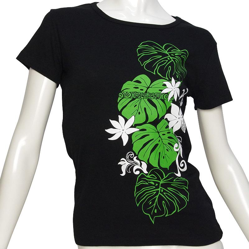 画像1: 6.2oz速乾フライスTシャツ≪タヒチアンモンステラ/黒×緑&白≫≪ネコポス対応可≫ (1)