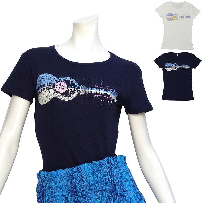 画像1: 速乾加工 フライス 半袖 Tシャツ≪ウクレレ柄プリント≫≪ネコポス対応可≫ (1)